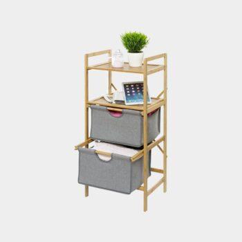 HomeTrends-Wäscheregal mit 2 Boxen aus Bambus grau-01