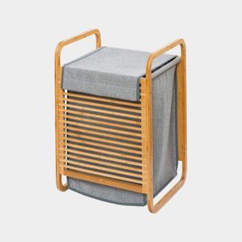 HomeTrends-Wäschetruhe bambus in grau 43 liter-geschlossen